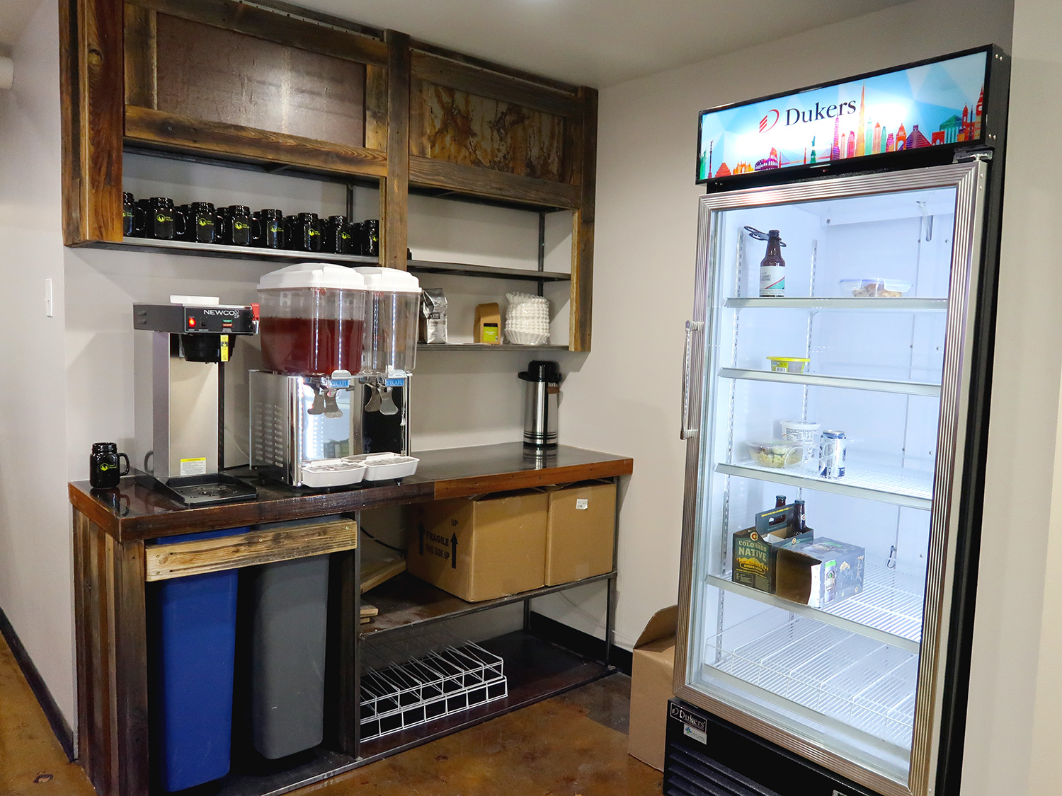 kitchen with refrigerator and drinks